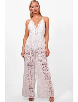 Boutique All Over Crochet Culotte Jumpsuit by Boohoo