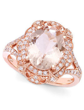Blush By Effy Morganite (3 1/8 Ct. T.W.) And Diamond (1/4 Ct. T.W.) Oval Ring In 14k Rose Gold by Effy Collection