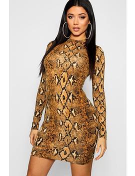Long Sleeve Snake Print Bodycon Dress by Boohoo