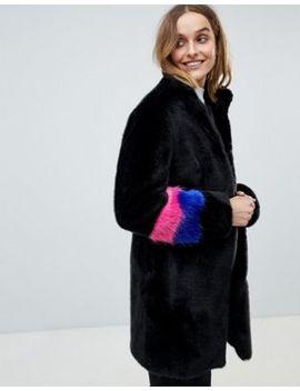 Barney's Originals Color Block Sleeve Faux Fur Coat by Coat