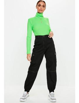 Black Contrast Stitch Cargo Trousers by Missguided