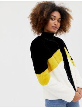 Brave Soul Coat In Sports Stripe Faux Fur by Coat