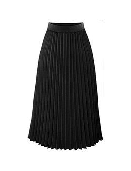Wawer Maxi Skirt For Women, Summer Girls Solid Pleated Elegant Skirt,Fashion Office Lady Elastic Waist A Line Mid Skirt For Party Cocktail (S, Black) by Wawer