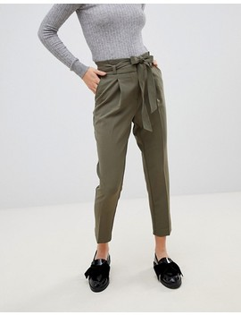 New Look Petite Tie Waist Trousers In Khaki by New Look Petite