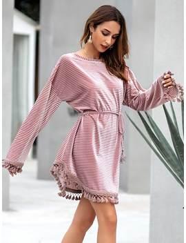 Fringe Hem Belted Velvet Dress by Sheinside