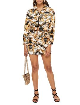 Chain Print Denim Miniskirt by Topshop