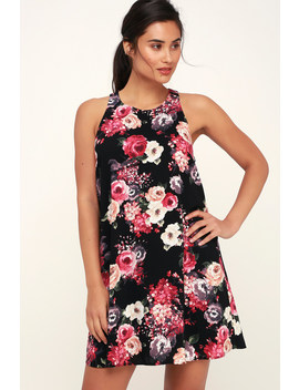 Design Major Black Floral Print Swing Dress by Lulus