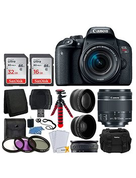 Canon Eos Rebel T7i Digital Slr Camera With Ef S 18 55mm F/4 5.6 Is Stm Lens + 58mm Wide Angle Lens + 2 X Telephoto Lens + 48 Gb Sd Memory Card + Uv Filter Kit + Flexible Tripod   Full Accessory Bundle by Canon