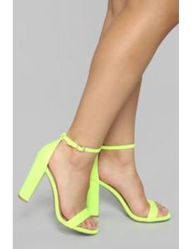 Just Think About It Heeled Sandals   Neon Yellow by Fashion Nova