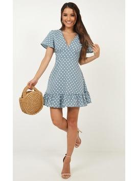 My Silent Heart Dress In Blue Spot by Showpo Fashion