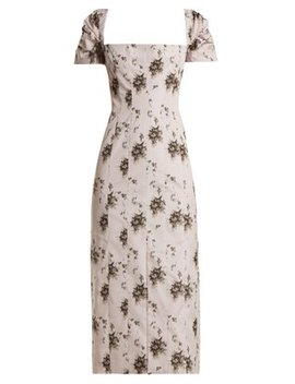 Odilia Floral Print Panelled Midi Dress by Brock Collection