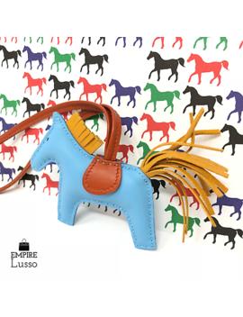 New Hermes Rodeo Milo Horsehair Lambskin Grigri Bag Charm Pm Blue Yellow Orange by Hermes