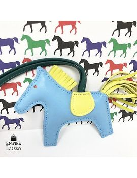 New Hermes Rodeo Milo Horsehair Lambskin Grigri Bag Charm Pm Blue Lime Malachite by Hermes