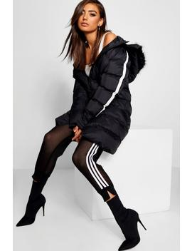 Longline Padded Coat With Tape Detail by Boohoo