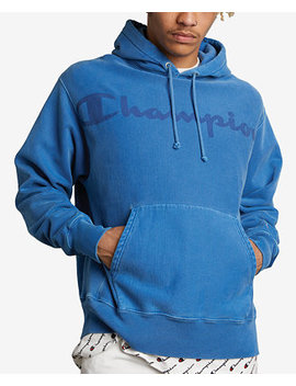 Men's Garment Dyed Logo Hoodie by Champion