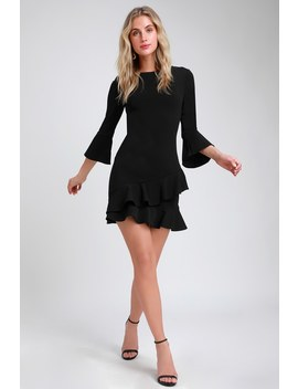 Sensational Statement Black Ruffled Bodycon Dress by Lulus