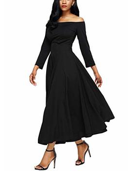 Annflat Women's Summer High Waist Swing Pleated Full Length Front Slit Belted Maxi Skirt by Annflat