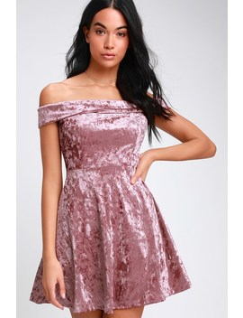 Season Of Fun Dusty Mauve Velvet Off The Shoulder Skater Dress by Lulus
