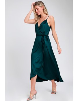 Starlight Starbright Teal Blue Velvet High Low Wrap Dress by Lulus