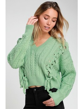 Ambrin Mint Green Cropped Lace Up Cable Knit Sweater by Lulu's