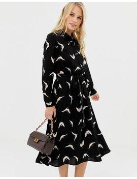 Liquorish Bird Print Midi Shirt Dress by Liquorish