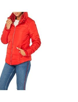 Dorothy Perkins   Red Faux Fur Collar Padded Jacket by Dorothy Perkins