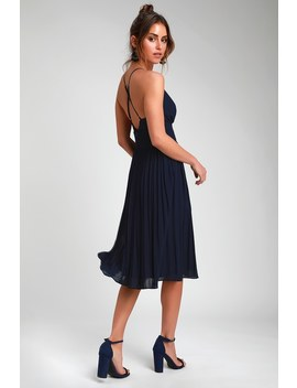 Love Me To The Moon Navy Blue Pleated Midi Dress by Lulus