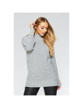 Quiz   Grey Knit Pearl Jumper by Quiz