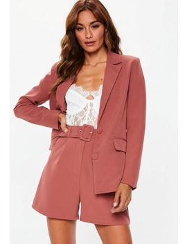 Rose Pink Belted Tailored Co Ord Shorts by Missguided