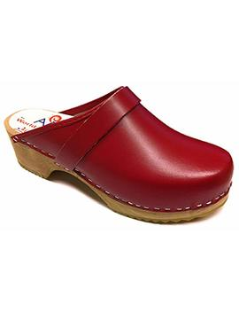 Am Toffeln 100 Swedish Wooden Clogs In Red Leather by World Of Clogs.Com
