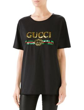 Sequin Tiger Logo Tee by Gucci