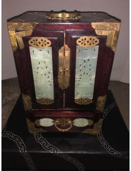 Chinese Hand Carved Jade Brass Wood Jewelry Lacquer Box Chest Cabinet With Lock by Ebay Seller