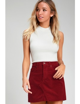 Ryder Wine Red Corduroy Mini Skirt by Pistola