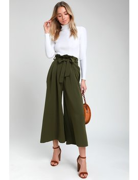 Audition Olive Green Paper Bag Waist Wide Leg Pants by Lulu's