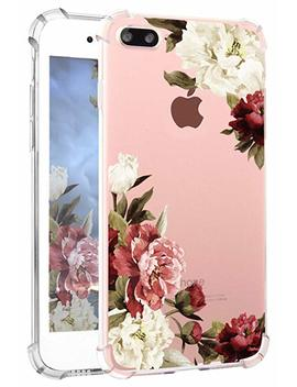 Hepix I Phone 8 Plus Floral Case Clear I Phone 7 Plus Case Soft Flexible Watercolor Flowers Floral Print Back Cover Phone Case Tpu Bumper For I Phone 7 Plus I Phone 8 Plus [5.5 Inch] (White Red Peony) by Hepix