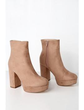 Layne Camel Suede Platform Ankle Booties by Lulus