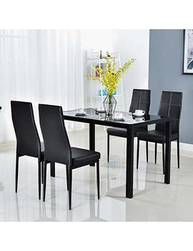 Bonnlo Modern 5 Pieces Dining Table Set Glass Top Dining Table And Chairs Set For 4 Person,Black by Bonnlo