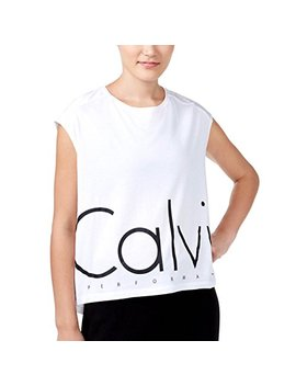Calvin Klein Performance Womens Logo Sleevless T Shirt White Xl by Calvin+Klein