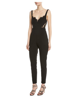The Millie Lace Side Cami Top Fitted Jumpsuit by Neiman Marcus