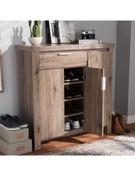 Baxton Studio Laverne Modern And Contemporary Oak Brown Finished Shoe Cabinet by Baxton Studio