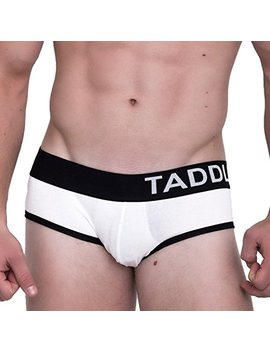 Taddlee Sexy Men Underwear 2 Pack Boxer Briefs Solid Low Waist Cotton Trunks Gay (L, Black/White(2 Pack)) by Taddlee
