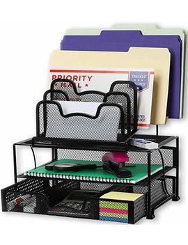 Simple Houseware Mesh Desk Organizer With Sliding Drawer, Double Tray And 5 Stacking Sorter Sections, Black by Simple Houseware