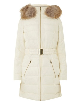 Cream Belted Padded Coat by Dorothy Perkins