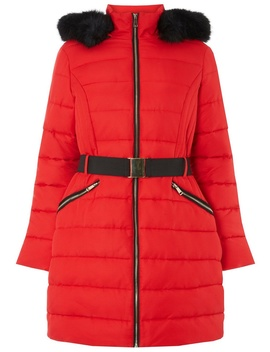 Red Jacquard Padded Coat by Dorothy Perkins