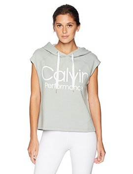 Calvin Klein Women's Muscle Boxy Cropped Logo Terry Hoodie by Calvin+Klein