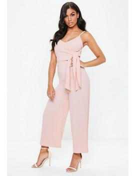 Pink Tie Side Culotte Jumpsuit by Missguided