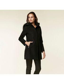 Wallis   Black Duffle Fur Faux Wool Coat by Wallis
