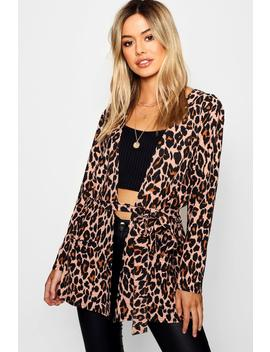 Petite Leopard Print Belted Blazer by Boohoo