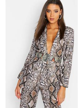 Tall Snake Print Tailored Blazer by Boohoo