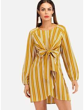 Knot Detail Striped Dress by Sheinside
